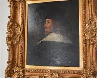 Rembrandt Signed Rowe, Oil on Canvas in Ornate Frame