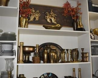 3 D Carved Wood Art, Candle, Sticks, Brass Items, Gorham Sterling Cup, Valero Cups Spain, Platter, Vases