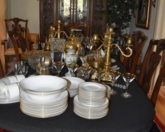 China, Candleoperas, Gold Trimmed Stemware, China Cabinet Table and Chairs, Asian Area Rug