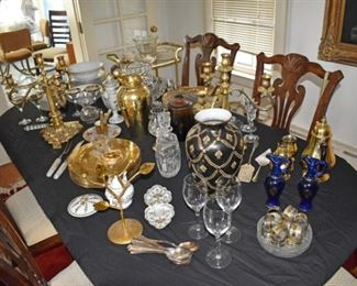 Dining Room Overview Tea Carts, Candleoperas, Crystal Decanters, Crystal Vases, Stemware, Amber Covered Dish, Porcelain Tea Pot, Gold Trimmed China, Decanters, Vases, Chargers, Tea Cups, Flatware, Table, & Chairs, Coffee Pot, Cream & Sugar, Hand Painted Dish, Stemware