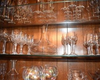 Stemware Every size and shape, Brandy, Marquerita's, Champagne, Water, Cordials & Wine Glasses. Decanters