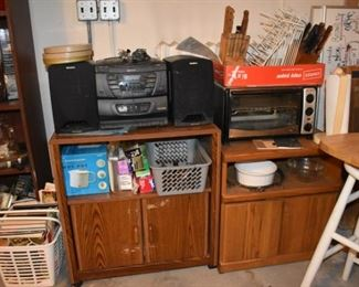 Sony Stereo, Toaster Oven Carts, Cookbooks, Small Appliances, Pans, Knives, French Corningware