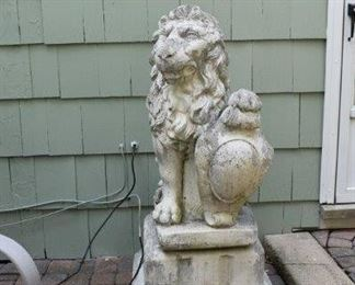 Concrete Garden or Front Door Lion with Shield
