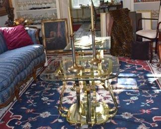 Large RWB Area Rug Brass Glass Table