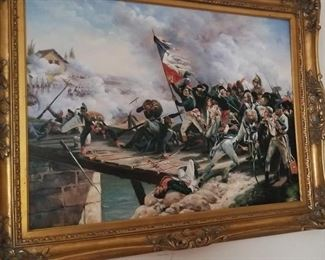 Battle Scene Large Oil Painting with Nice Frame