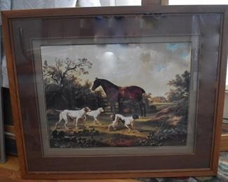 Framed & Matted, Horse & Dogs in Pasture