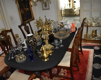 Dining Chairs, Table, Asian Area Rug, Glassware, Candle Holders