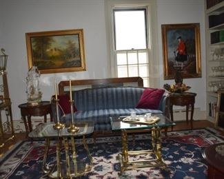 Overview Parlor, Sofa, End Tables, Art, Brass Tables, Tea Cups, Tray, Statuary, Books