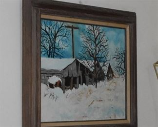 Winter Scene Oil on Canvas with Wood Frame