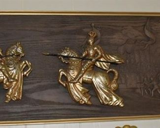 Wood Carving with Brass Knights, Wood depicts Horses People, scenery