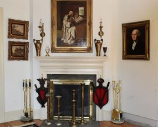Area Rug and Living Room Fireplace Mantle, Painting by D Douglass of G Washington, Shields, Candle Holders, Fireplace Utensils, Vases, Waterford, Oil of Priest & Children