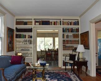 Bookcase, Overview of Parlor Furniture, Area Rug, End Tables, Books, Stemware