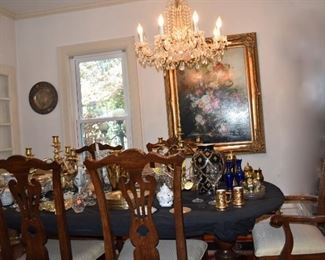 Dining Room Pedestal Table 6 Chairs Art
