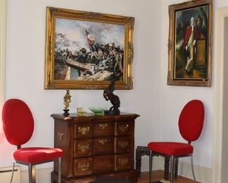 Overview Living Room, Austin Bronze Horse,  Asian Lady with Chinese Signature (Ivory), Statuary, Young G Washington in Oil by Gilliam, Norman Rockwell Framed Art, Area Rug