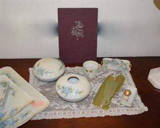 Roses of Yesterday Book, Antique Game Table Dresser Set