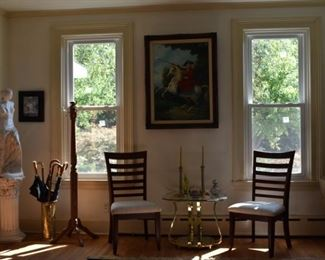 Part of Living Room Overview, Side Chairs, Brass & Glass Table, Umbrella Stand, Statue of Venus, Painting Oil on Canvas Of G Washington signed.