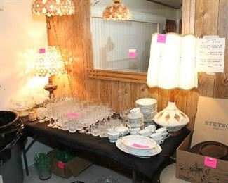 Crystal, China, Lamps, Shell Hanging Lamp and Matching Table Lamp
