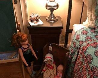 Dolls, primitive child's chair