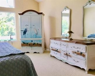 HICKORY BEDROOM SET, KING BED NEVER SLEPT ON, TRIPLE DRESSER WITH TWO MIRRORS, ARMOIRE, AND TWO NIGHT STANDS