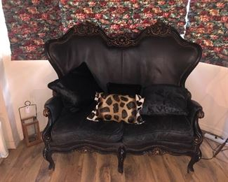 GORGEOUS ANTIQUE LEATHER COUCH WITH CARVED WOOD
