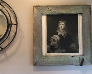 OLD BARN WOOD FRAME WITH HARDWARE WITH ANTIQUE PHOTO ... love it