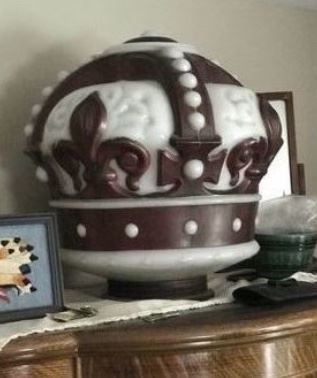 Original Red Crown Milk Glass Globe