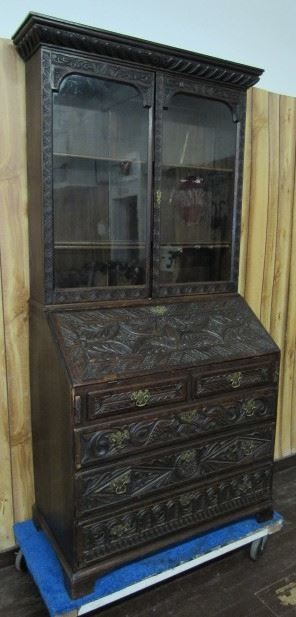 Carved Oak Bookcase w/Secretary