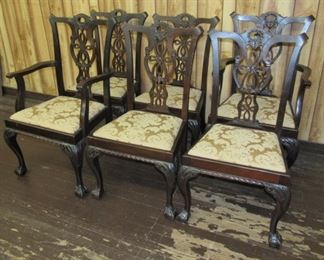 6 - Early Mahogany Chippendale Dining Room Chairs