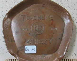 Bronze Teacher's Whisky Advertising Ashtray
