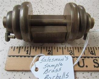 Salesman's Sample Brass Barbells