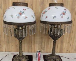Pair of Lamps w/Cherubs & Glass Prisms
