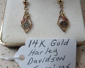 14K Gold Harley Davidson Motorcycles Earrings
