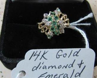 14K Gold, Diamond & Emerald Ring