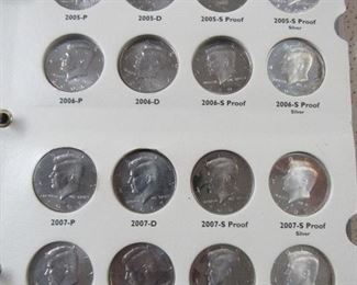 40 - Kennedy Half Dollars in Album - 8 Are Silver Proofs