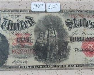 1907 $5.00 Wood Chopper Note