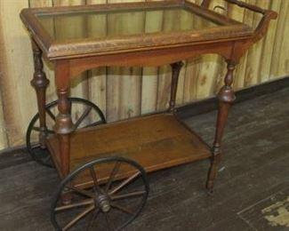 Oak Serving Cart w/Removable Tray