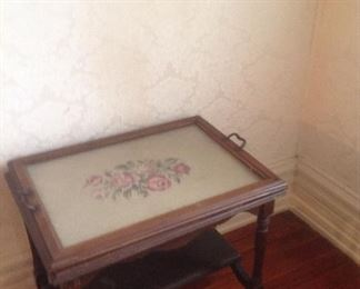 Side table with lift off needlepoint tray..Vintage