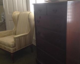 chest of drawers & pair of wing back chairs