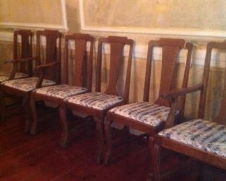 8 tiger oak dining table chairs