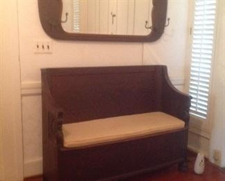 Tiger Oak carved storage bench & tiger oak beveled mirror hat rack