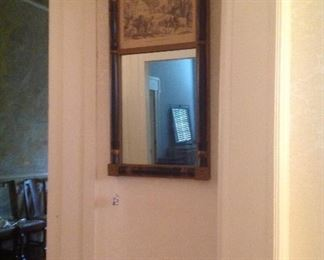 Vintage wall mirror with Currier & Ives framed print