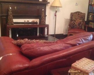 Taylor King couch, matching chair, books, etc