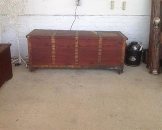 Oversized cedar chest w/ copper bands