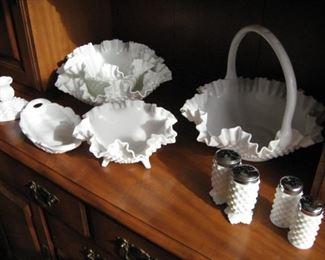 Ruffled edge milk glass hobnail  bowls, salt & pepper shakers