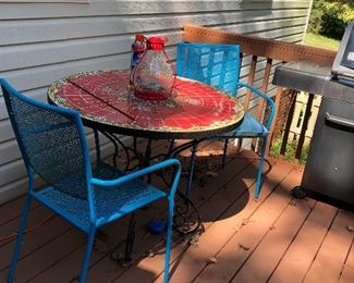 Mosaic tile top bistro table &  two chairs