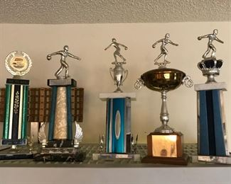 Vintage Pool, Bowling and Golf Trophies