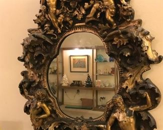 Huge Medieval (?) Inspired Mirror complete with Cherubs, a Satyr, a Lady and a Bull Head... AWESOME