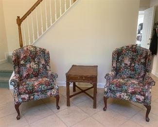 Two floral wingback chairs - by Rowe furniture - very nice and clean