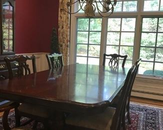(1) Large Wooden Dining Table with 6 chairs.