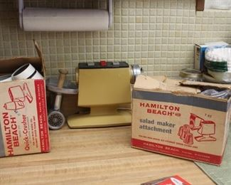 Various vintage appliances with boxes